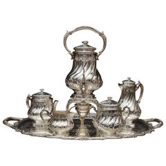 French Late 19th Century, Complete Silver Tea and Coffee Set by Odiot in Paris