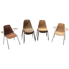 Italian Midcentury Metal and Bamboo Design Chairs Campo & Graffi for Home, 1950s