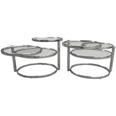 Italian Three-Tier Milo Baughman Style Articulated Chrome Side Table from 1970s