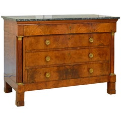 Early 19th Century French First Period Empire Marble Top Three-Drawer Commode