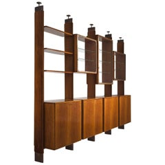 BBPR Fully Restored Room Divider in Walnut and Brass