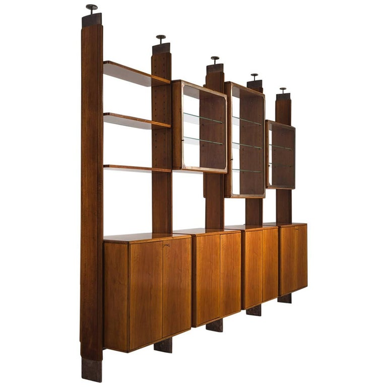 BBPR Fully Restored Room Divider in Walnut and Brass For Sale