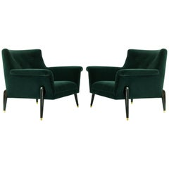 Dynamic Pair of Midcentury Italian Lounge Chairs, circa 1958