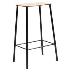 Contemporary Adam Stool in Leather with Black Frame H65