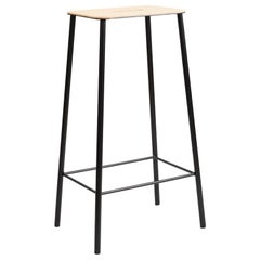Contemporary Adam Stool in Leather with Black frame H76