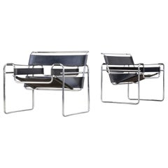 Marcel Breuer 'Wassily' B3 Chairs Black Leather for Gavina Set of Two