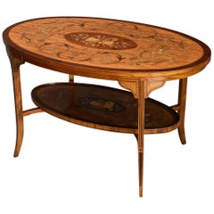 Superbly Fine Quality Edwardian Inlaid Satinwood Two-Tier Oval Coffee Table
