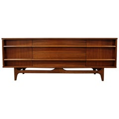 Mid-Century Modern Elongated Concave-Front Walnut Credenza