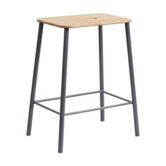 Contemporary Adam Stool in Oak with Grey Frame H50