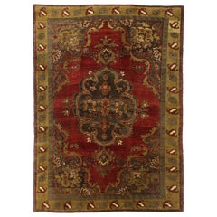 Vintage Turkish Oushak Rug with Traditional Medallion Style