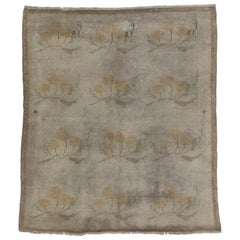 Vintage Turkish Oushak Accent Rug with French Farmhouse Style