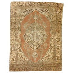 Rustic Style Distressed Antique Persian Tabriz Rug with Warm Spice Tones