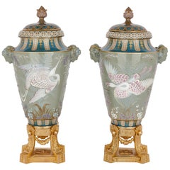 Two Sèvres Gilt Bronze Mounted Porcelain Pâte-sur-pâte Vases by Gely