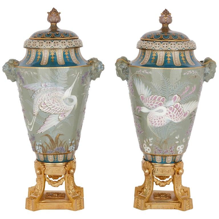 Two Sèvres Gilt Bronze Mounted Porcelain Pâte-sur-pâte Vases by Gely For Sale