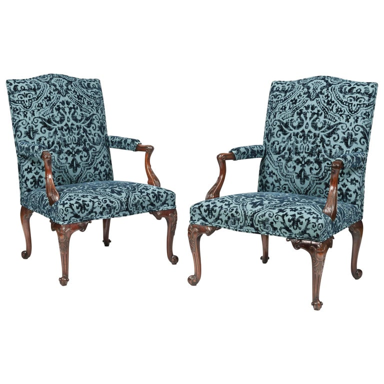19th Century Pair of Gainsborough Chairs After Thomas Chippendale