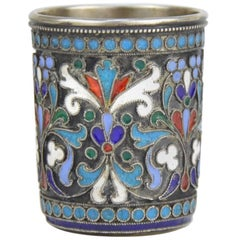 Imperial Russian Cloisonné Enamel and Silver Beaker, Moscow, 19th Century