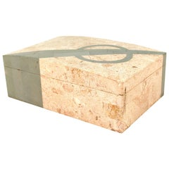 Maitland-Smith Style Midcentury Tessellated Box in Marble and Green Mineral