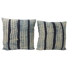 Pair of Vintage Shibori Stripe Blue Asian Decorative Pillows