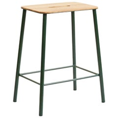 Contemporary Adam Stool in Oak with Cph Green Colored Frame H50
