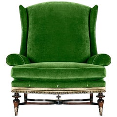 Highland Armchair, a green velvet & wool embroidery bronze Mahogany Lounge chair