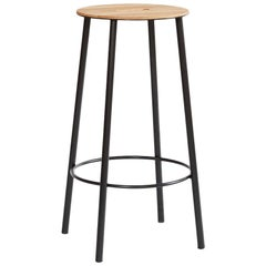 Contemporary Adam Stool R031 in Oak and Black Frame H65