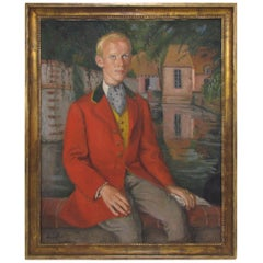 Important Self-Portrait as a Gentleman by French Artist Pierre Deval circa 1920s