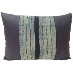 Vintage Shibori Stripe Blue Asian Decorative Bolster Pillow