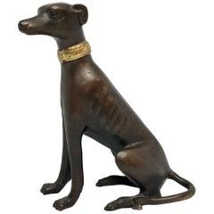 Bronze Figure of Sitting Greyhound with Collar