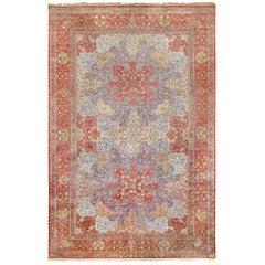 Large Antique Silk Persian Kashan Dabir Rug
