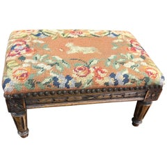19th Century French Louis XVI Needlepoint Footstool