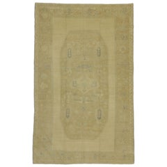 Vintage Turkish Oushak Area Rug with Muted Washed Out Colors