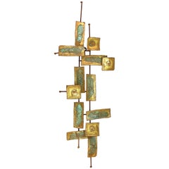 Curtis Jere Style Mid-Century Modern Metal Wall Sculpture