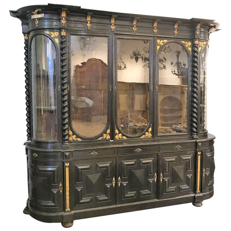 Palatial 19th Century English Jacobean Gun Cabinet