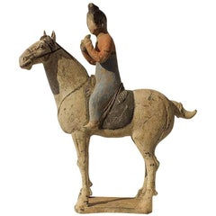 Extremely Rear Painted Pottery Equestrian Musician Palying Pai Xiao