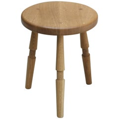 Saddle, Handmade Quartersawn Oak Stool With Textured Legs and a Carved Seat