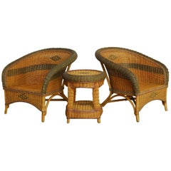 Grange Style French Wicker Club Chairs and Table
