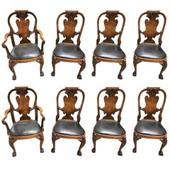 Antique English Queen Anne Dining Chairs, Set of Eight
