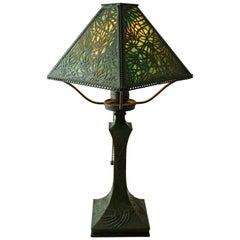 Art Nouveau Pine Needle Bronze and Glass Riviere Studios Lamp, circa 1900