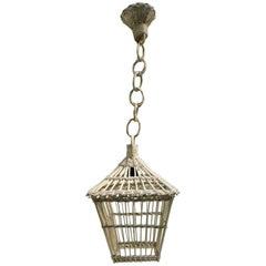 Vintage French Wicker Hanging Lantern/ Pendant Lamp Chandelier