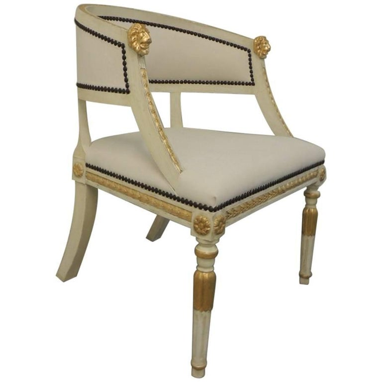 Swedish Gustavian Barrel Back Armed Vintage Chair