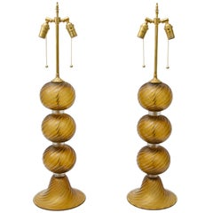 Pair of Bronze Gold Color Murano Glass Table Lamps