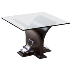 Art Deco Walnut and Aluminum Side Table, 20th Century