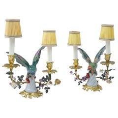 Pair of Meissen Style Birds Porcelain Lamps, Gilt Bronze Mount, 1900 Period