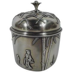 Early Tiffany Aesthetic Japonesque Sterling Silver Tea Caddy