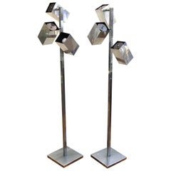 Koch & Lowy Modernist Polished Chrome Floor Lamps