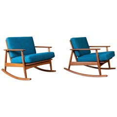 Pair of Danish Modern Refinished Teak Rocking Chairs by Moreddi