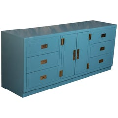 Hollywood Regency Lacquered Nine-Drawer Dresser with Brass Hardware by Dixie