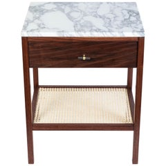 Custom Made Walnut Night Stand with a Marble Top and Caned Bottom Shelf
