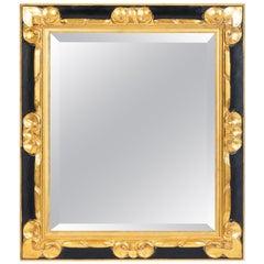 Vintage Black & Gold Finished Wood Frame Mirror