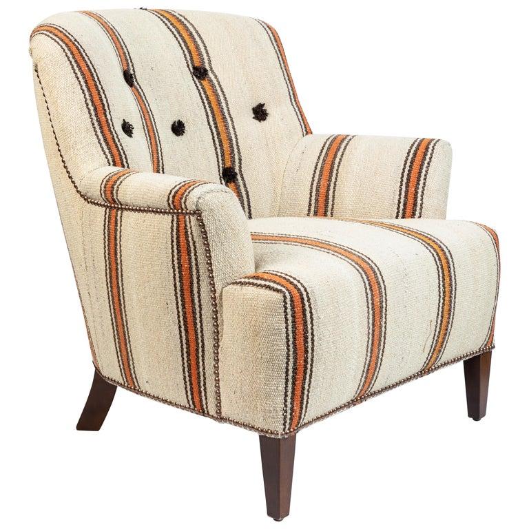 Vintage Barrel Back Chair Newly Upholstered In Kilim Rug